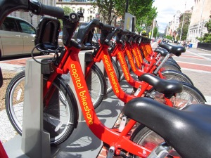Capital Bikeshare station in Washington, DC.