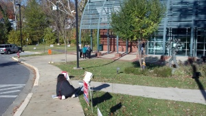Candidate Phyllis Marcuccio canvassing within the polling place in Twinbrook in 2011, a violation of city code.