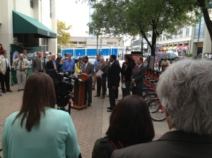 A crowd gathers in downtown Rockville for the launch of Capitol Bikeshare.