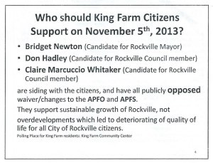 Illegal flyer distributed in King Farm in October 2013.