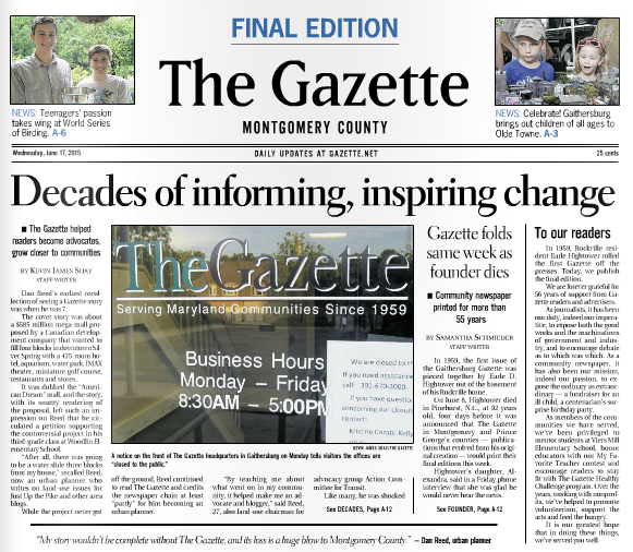 Local Gazette Newspaper Publishes Final Edition | Max for