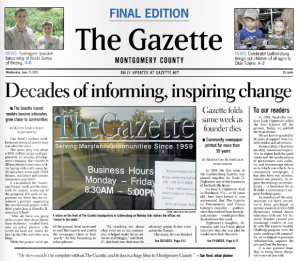 Gazette newspaper closes.