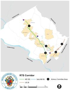 Bus Rapid Transit corridors for Montgomery County under consideration in 2016.